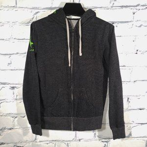 Hooded Fullzip Jacket, Charcoal Neon Green, Train Compete Live